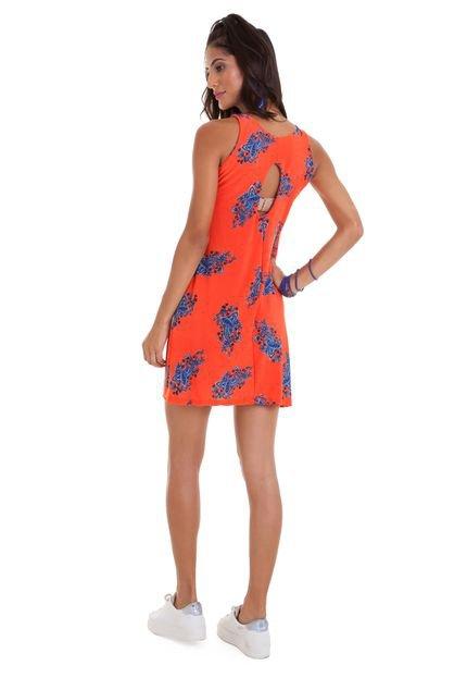 Manola Vestido Manola Regata estampado laranja com detalhes em azul