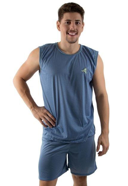 Pijama Linha Noite Curto Azul Acinzentado