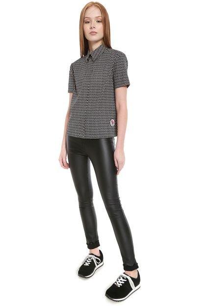 Calvin Klein Jeans Camisa Calvin Klein Jeans Reta Estampada Preta