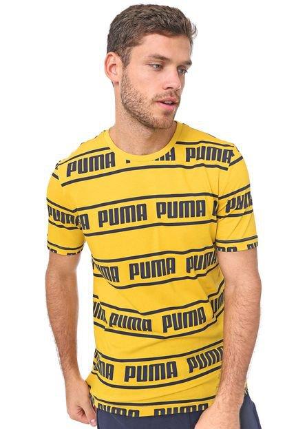 Camiseta Puma Amplified Amarela/Preta