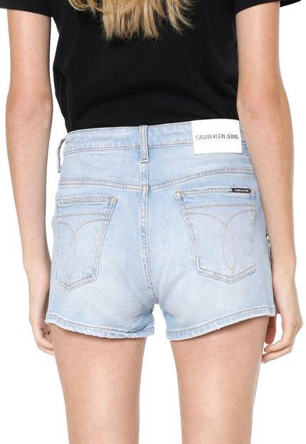 Calvin Klein Jeans Short Jeans Calvin Klein Jeans Reto Faixas Laterais Azul