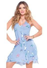 Vestido Para Mujer Estampado - Azul Claro Atypical