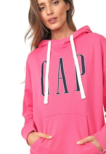 GAP Moletom Flanelado Fechado GAP Logo Bordado Pink