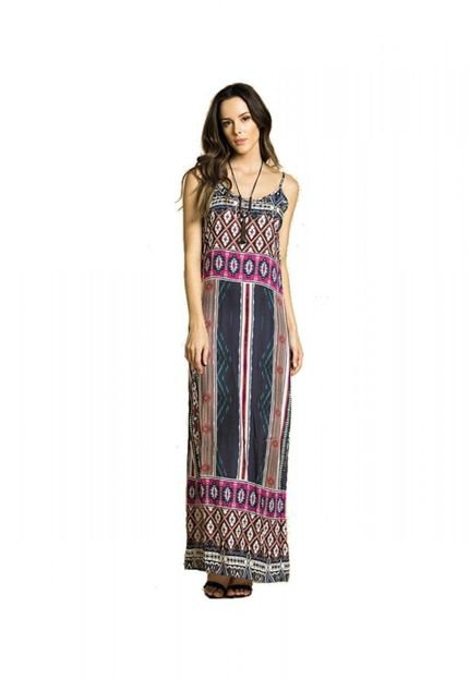 Sly Wear Vestido Sly Wear Longo Estampado Azul lRird