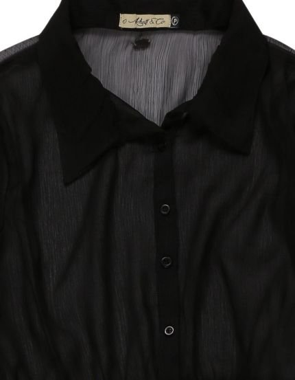 Khelf Camisa Alongada Abertura Na Lateral Preto