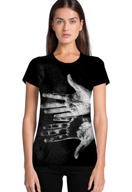 Ramavi Camiseta Feminina Ramavi Mãos Manga Curta CQypl