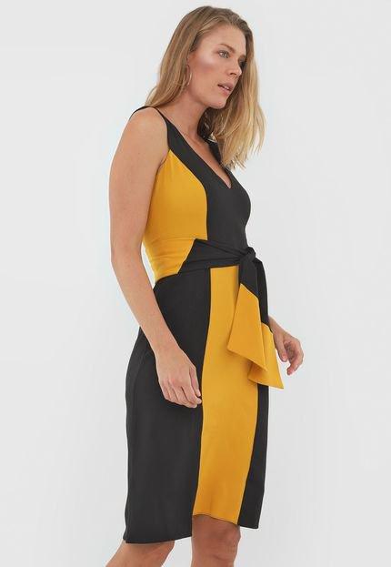 Enna Vestido Enna Curto Textura Preto/Amarelo 6f68V