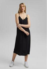 Vestido Midi Con Encaje Negro Esprit