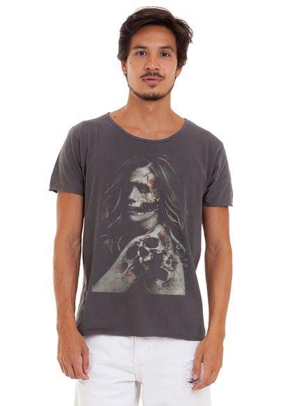 Camiseta Masculina Joss Estonada Corte à Fio Mordiça Chumbo