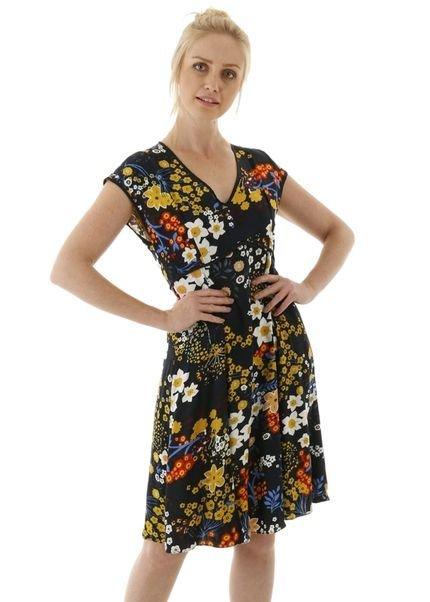 AHA Vestido curto estampa floral com pregas e viés xRN3X