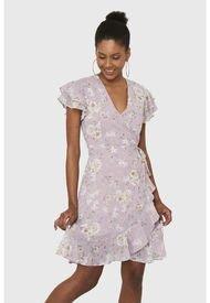 Vestido Corto Envolvente Floral Lila Nicopoly