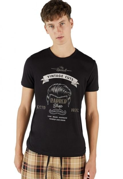 Camiseta Básico Joss Vintage Cuts Preto