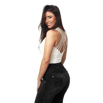 Estigma Moda Legging Estigma Moda de veludo cotelê preta YsaUz