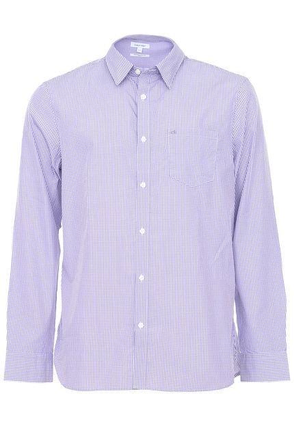 Camisa Calvin Klein Slim Xadrez Roxa