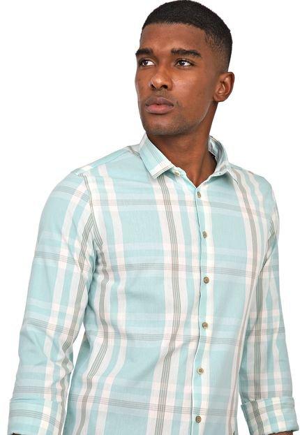 Camisa Acostamento Slim Xadrez Verde/Branco
