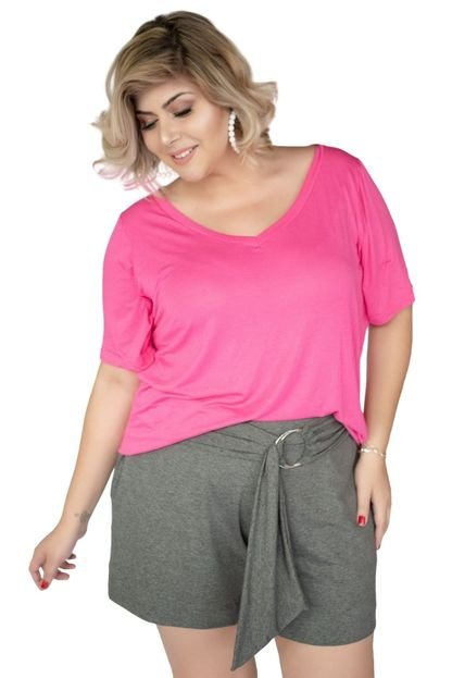 MARI MALPIGHI Blusa Mari Malpighi Tshirt decote V malha podrinha Pink 1UIHh