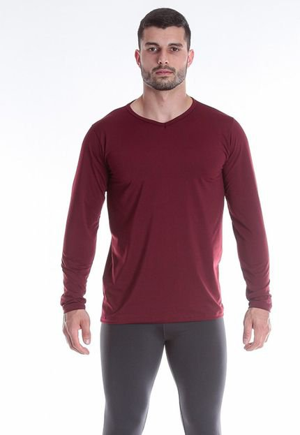Camiseta Térmica Question Sport  Decote V Com Fleece Interno Bordô