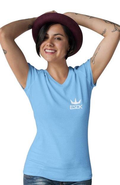 EZOK Camiseta Feminina Gola V Ezok King Azul Claro v503D