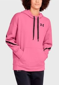Polerón Under Armour Fleece Hoodie Taped Rosa - Calce Holgado