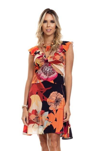 Clara Arruda Vestido Clara Arruda Detalhe Frontal 50556 Multicolorido P4tpL