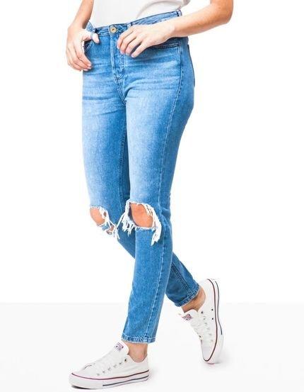 Khelf Calça Jeans Feminina Mom Cinza Escuro CvSp0