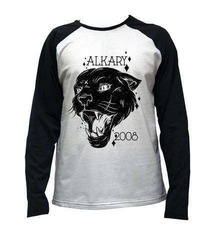 Camiseta Alkary Raglan Manga Longa Pantera Branca e Preta