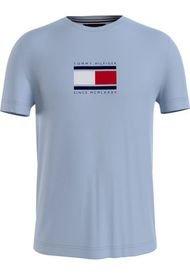 Camiseta De Algodón Con Logo Azul Tommy Hilfiger