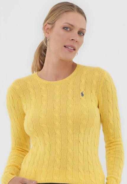 Polo Ralph Lauren Suéter Lã Polo Ralph Lauren Liso Amarelo EXJ5u