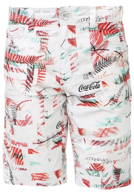 Bermuda Coca-Cola Jeans Reta Estampada Off-White