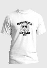 Camiseta Estampada Hombre Negro-Blanco Kuva - Coronavirus Survivor