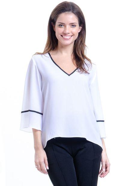 101 Resort Wear Blusa 101 Resort Wear Decote V Boho Cropped Crepe Branco Preto xGtsM