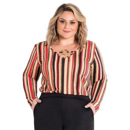 Marguerite Blusa Listrada Pus Size com Fivela rUXDt