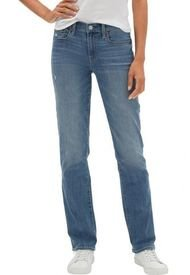 Jeans Straight Medium Indigo Azul GAP