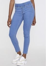 Jeans Leggins Básica Skinny Azul Claro Tachas Bota  Corona
