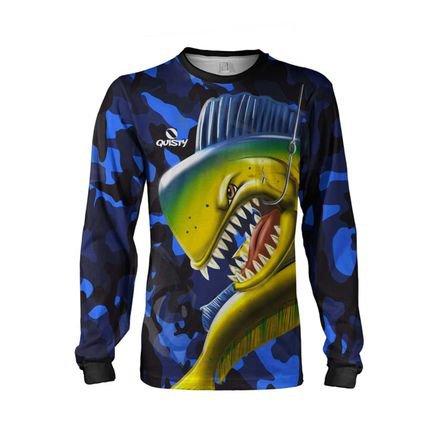Camisa Pesca Quisty Majestoso Dourado do Mar Camuflado Proteção UV Dryfit Adulto Azul
