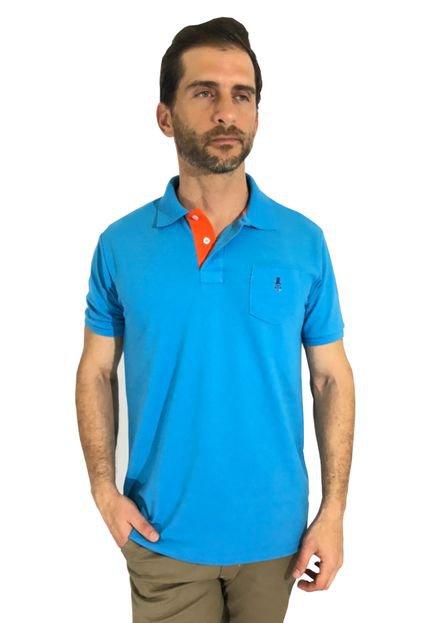 Camisa Polo Mister Fish Slim Basic Com Bolso Turquesa