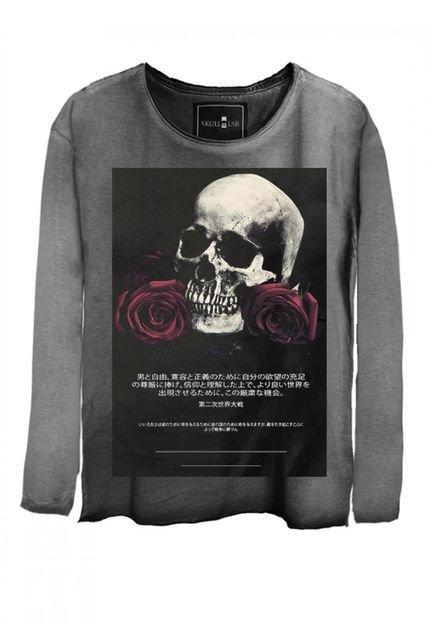 Camiseta Manga Longa Skull Lab Caveira  Cinza