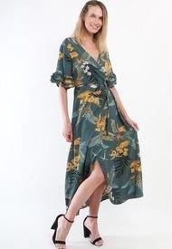 Vestido Cruzado Flores Verde Night Concept