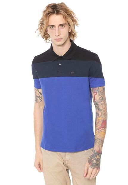 Menor preço em Camisa Polo Ellus Reta Colorblock Preta/Azul