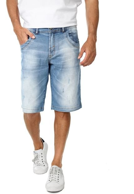 Bermuda Jeans Zune Reta Estonada Azul
