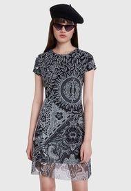 Vestido Desigual Black & White Multicolor - Calce Regular