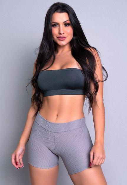Mvb Modas Short MVB Modas Curto Bolha Fitness Cinza mQKJq
