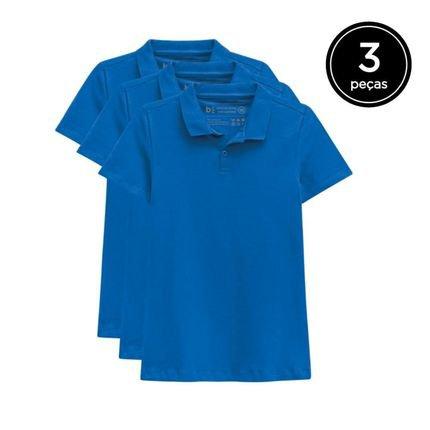 Basicamente. Kit Basicamente. 3 Camisas Polo Azul X5VL1