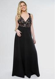 Vestido Julieta Negro Dorado Natalia Seguel