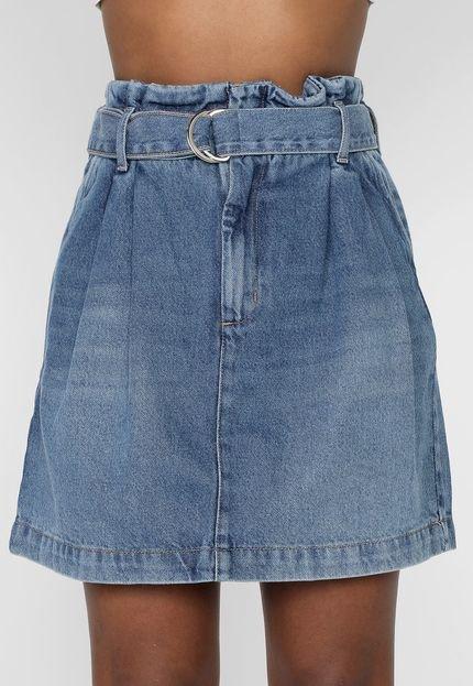 Colcci Saia Jeans Colcci Curta Clochard Azul