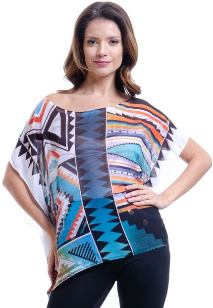 101 Resort Wear Blusa 101 Resort Wear Poncho Decote Cavado Crepe GeometricoEstampado evIIn