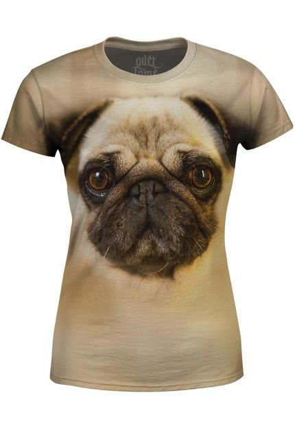 Over Fame Camiseta Baby Look   Pug Over Fame Bege HgwrI