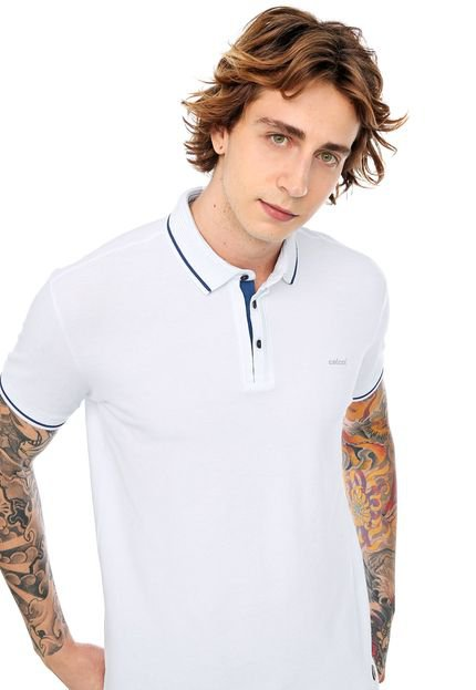 Camisa Polo Colcci Reta Frisos Branca