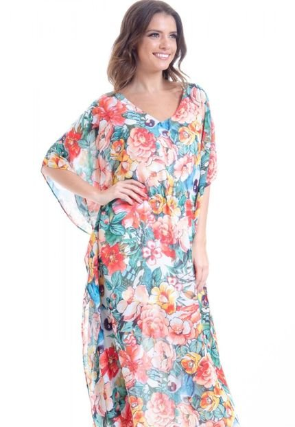 101 Resort Wear Kaftan 101 Resort Wear Vestido Longo Crepe Estampa Floral Vermelho D2sJp