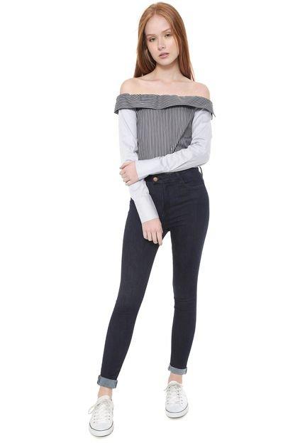 Calvin Klein Jeans Camisa Calvin Klein Jeans Ombro a Ombro Listrada Azul